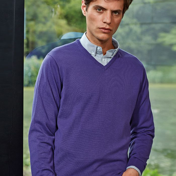 Premier - Knitted Cotton Acrylic V Neck Sweater - PR694