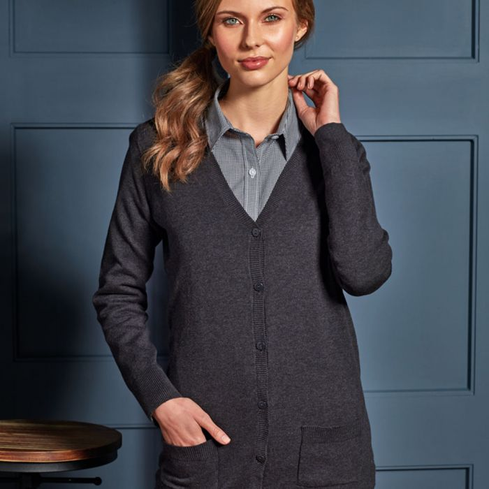 Premier - Ladies Long Line V Neck Cardigan - PR698