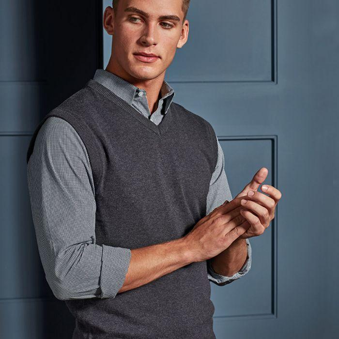 Premier - Sleeveless Cotton Acrylic V Neck Sweater - PR699