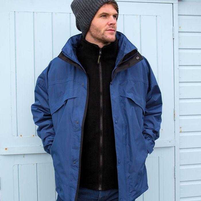 Result - 3-in-1 Waterproof Zip and Clip Fleece Lined Jacket - RS68