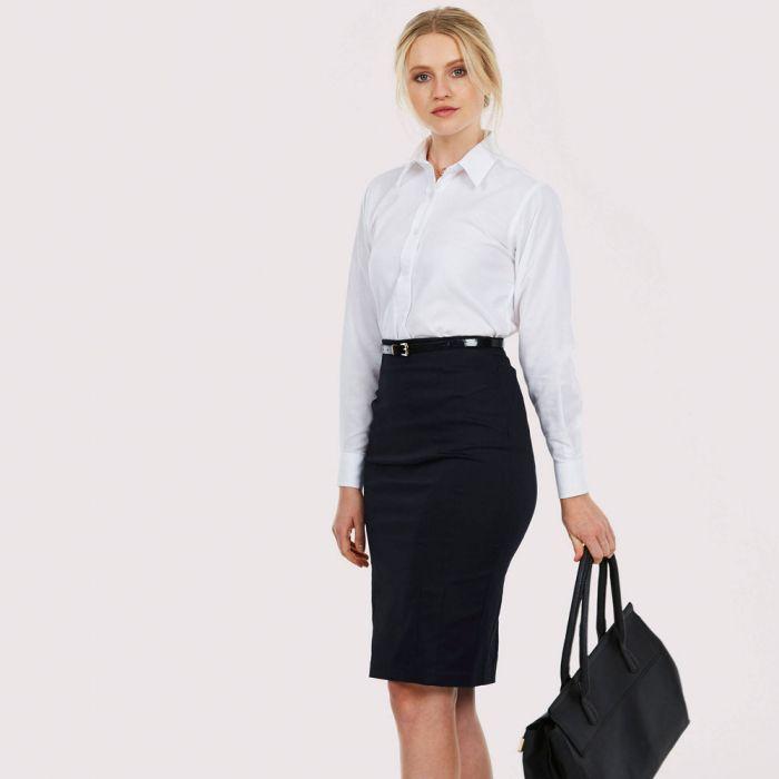 Uneek - Ladies Pinpoint Oxford Long Sleeve Shirt - UC703