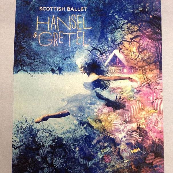 multi colour ballet print with glitter