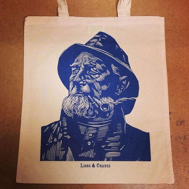 1 colour tote bag sailor print
