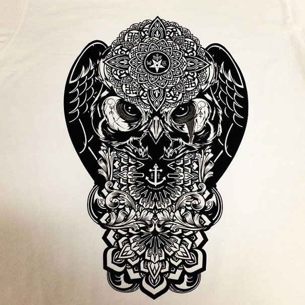 1 colour owl print